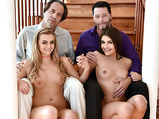 Alluring sexy bffs Adria Rae and Care Stone swap each others dads